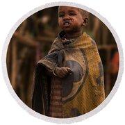 Maasai Boy Round Beach Towel