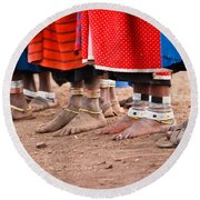 Maasai Feet Round Beach Towel
