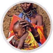 Maasai Grandmother And Child Round Beach Towel