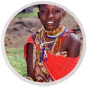 Maasai Teenager Round Beach Towel