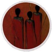 Maasai Trio  Round Beach Towel