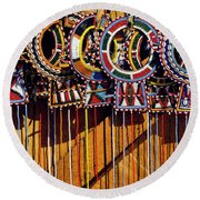 Maasai Wedding Necklaces Round Beach Towel