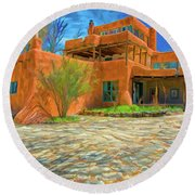 Mabel Dodge Luhan House As Oil Round Beach Towel