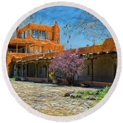 Mabel's Courtyard Round Beach Towel