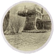 Mabel's House As Antique Print Round Beach Towel