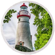 Mablehead Light From The Rocks Round Beach Towel