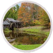 Mabry Mill In Fall 1 Round Beach Towel
