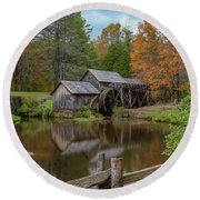 Mabry Mill In Fall 2 Round Beach Towel