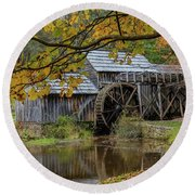 Mabry Mill In Fall 3 Round Beach Towel