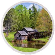 Mabry Mill In The Springtime On The Blue Ridge Parkway  Round Beach Towel by Kerri Farley
