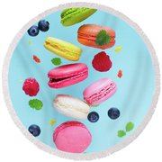 Falling In Love With Macaroons  Round Beach Towel