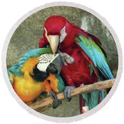 Macaw Love Round Beach Towel