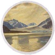 Macco, Georg 1863 Aachen - 1933   Glacier On Spitsbergen Round Beach Towel