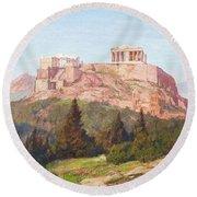 Macco, Georg 1863 Aachen - 1933   The Acropolis Of Athens. Round Beach Towel