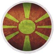 Macedonia Distressed Flag Dehner Round Beach Towel