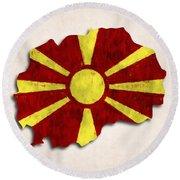 Macedonia Map Art With Flag Design Round Beach Towel