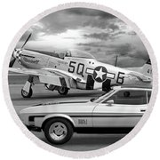 Mach 1 Mustang With P51 In Black And White Round Beach Towel