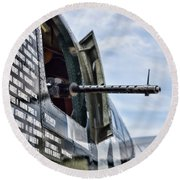 Machine Gun Wwii Aircraft Color Round Beach Towel