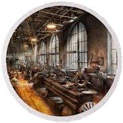 Machinist - A Room Full Of Lathes  Round Beach Towel by Mike Savad