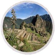 Machu Picchu And Bromeliad Round Beach Towel