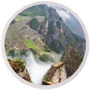 Machu Picchu And Fog Round Beach Towel