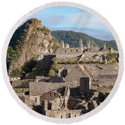 Machu Picchu City Archecture Round Beach Towel