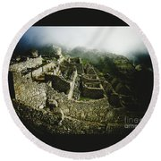 Machu Picchu In The Fog Round Beach Towel