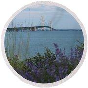 Mackinac Bridge 3 Round Beach Towel