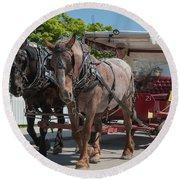 Mackinac Island Horse Carriage Round Beach Towel