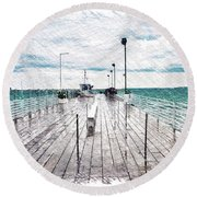 Mackinac Island Michigan Shuttle Pier Pa 02 Round Beach Towel