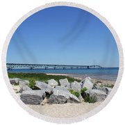 Mackinaw Bridge 2 Round Beach Towel