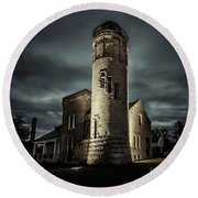Mackinaw Point Lighthouse Round Beach Towel