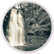 Maclean Falls New Zealand Round Beach Towel