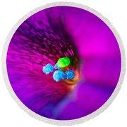 Macro Purple Flower Round Beach Towel
