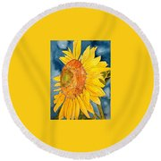 Macro Sunflower Art Round Beach Towel