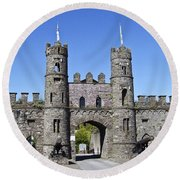 Macroom Castle Ireland Round Beach Towel