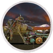 Mad Max Creater Motorcycle Round Beach Towel