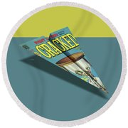 109s Cracked Mad Paper Airplanes Round Beach Towel