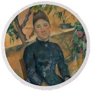 Madame Cezanne In The Conservatory Round Beach Towel