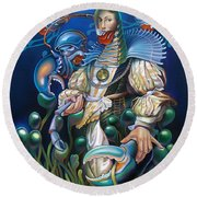 Madame Clawdia D'bouclier From Mask Of The Ancient Mariner Round Beach Towel