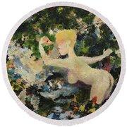 Madame De Pompadour In The Garden Of Eden Round Beach Towel