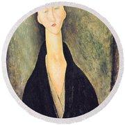 Madame Hanka Zborowska Round Beach Towel by Amedeo Modigliani