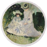 Madame Helleu And Her Daughter At The Chateau Of Boudran Round Beach Towel by Paul Cesar Helleu