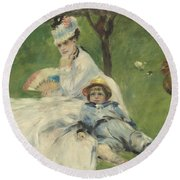 Madame Monet And Her Son Round Beach Towel