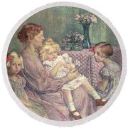 Madame Van De Velde And Her Children Round Beach Towel by Theo van Rysselberghe