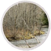 Madawaska Stream Bend Round Beach Towel