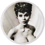 Madeline Smith, Vintage Actress Round Beach Towel