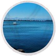 Madison Across Lake Mendota Round Beach Towel