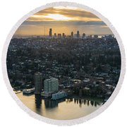 Madison Park And The Seattle Skyline Round Beach Towel