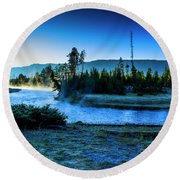 Madison River Yellowstone At Dawn Round Beach Towel